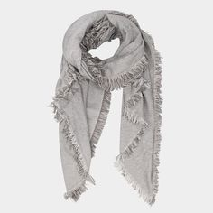 Tweed Frayed Edge Scarf - Light Grey