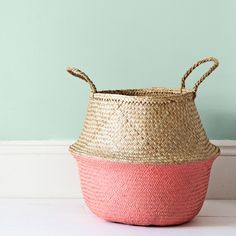 Coral Dipped Seagrass Belly Basket.
