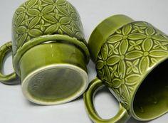 Retro Green Coffee Mugs Set of 2 JAPAN by OrWaDesigns on Etsy, $8.00