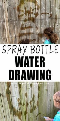 Spray Bottle Water Painting is a fun and super easy outdoor activity for kids! It's simple to set up and clean up but a great way to get creative outside without the mess! Preschool Learning Toys, Fine Motor Activities For Kids, Outside Activities, Movement Activities, Outdoor Activities For Kids, Summer Activities For Kids, Preschool Activities, Preschool Curriculum, Learning Resources