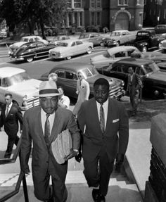 Civil rights leader Dr. Martin Luther King, Jr., left, and his chief deputy, Rev. Ralph Abernathy arrive at the Montgomery, Ala. courthouse, May 2, 1957, for the trial of Sonny Kyle Livingston, Jr. and Raymond C. Britt, Jr., on a charge of dynamiting a black church during a wave of racial violence.    Read more: http://www.beaumontenterprise.com/photos/article/Dr-Martin-Luther-King-Jr-His-life-in-pictures-956071.php#ixzz1qXt5i9rm