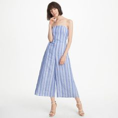 Allentin Jumpsuit - Club Monaco - An effortless balance of wide voluminous legs and an understated strapless top, our Allentin jumpsuit is crafted in a warm weather-friendly linen blend and finished with a dynamic striped motif. Linen/viscose; lining: cotton Cropped, wide leg [affiliate]