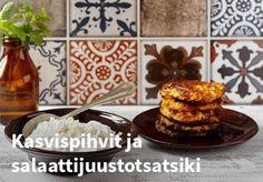 Kasvispihvit ja salaattijuustotsatsiki, Resepti: Valio #kauppahalli24 #resepti #kasvispihvit #tsatsiki #kasvis