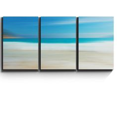 3 Piece Canvas Print - Contemporary Art, Modern Wall Decor - Beach and Surf Abstract Landscape - Giclee Artwork - Gallery Wrapped Wood Stretcher Bars - Ready to Hang- Wall26 - 16x24x3 Panels  CVS-Beach-04-16x24x1.50x3 *High quality printed canvas stretched and stapled to durable shrink resistant frames. *1.50 thick stretcher bars for gallery quality profile. *Canvases are printed and hand stretched in the USA by professionals. *Hanging accessory kit included. *All Wall26® Products are made…