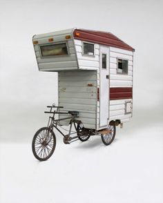 Mobile home... moved by a bicycle.