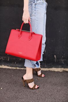 red leather bag, ripped boyfriend jeans & leopard print mules #style #fashion #seaofshoes