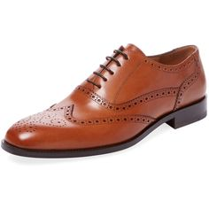 Gordon Rush Men's Leather Wingtip Oxford - Brown - Size 10 ($129) ❤ liked on Polyvore featuring men's fashion, men's shoes, men's oxfords, brown, mens leather shoes, mens brown shoes, mens brown leather shoes, mens brown brogue shoes and mens brogues
