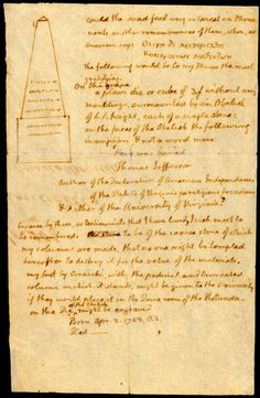 Jefferson's notes on his epitaph and gravemarker