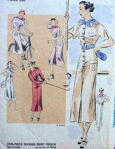 1930s SPORTS DIVIDED SKIRT DRESS PATTERN TAILORED STYLE GREAT FOR GOLFING TENNIS ETC VOGUE PATTERNS 6903