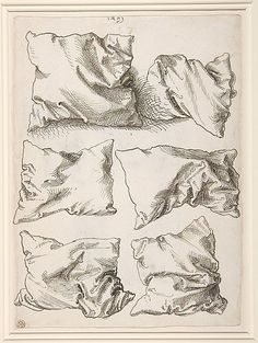 DRAWING artist: Albrecht Dürer, six pillows. I really like the simplicity of these drawings and the detail of the different positions. Albrecht Durer, Drawing Lessons, Drawing Techniques, Drawing Sketches, Art Drawings, Sketching, Contour Drawings, Horse Drawings, Pen Sketch