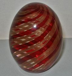 "Mesmerizing MURANO Glass 3.5"" high PAPERWEIGHT EGG with Ferro & Lazzarini LABEL"