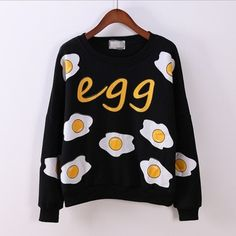 [Magic] funny Fried eggs printing fashion hoodies new arrival long sleeve o neck cotton sweatshirts for women fleece warm hoodie
