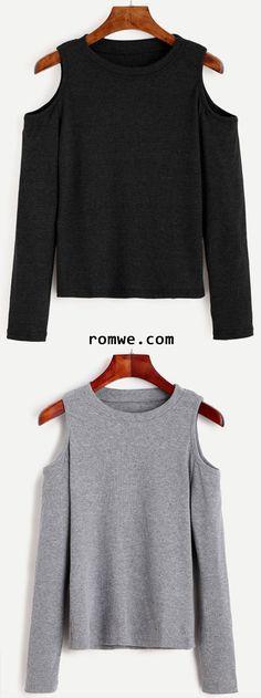 Grey & Black Open Shoulder Knit T-shirt from romwe.com