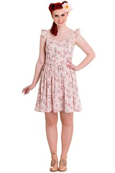 Hell Bunny Tweety 50's Retro Rockabilly Floral birdcage Mini Dress