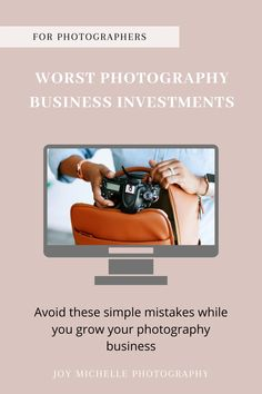 Have you ever wasted money trying to grow your photography business? I know I have. These are the top 3 worst photography business investments I've made over the past years of running a photography business. #JoyMichellePhotography #Education #BusinessInvestmentstoAvoid #BusinessMistakes #WeddingPhotography Photography Pricing, Photography Marketing, Photography Camera, Photography Branding, Photography Business, Business Marketing, Business Tips, Wedding Photographer Checklist, Professional Wedding Photography