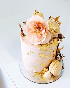 """Tome. 4"""" salted caramel & chocolate brownie cake finished with coconut frosting."""