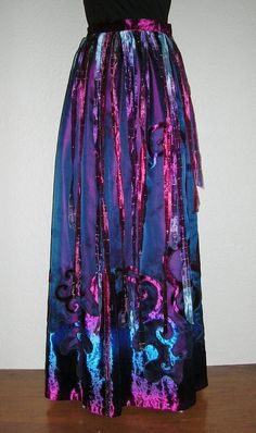 Festival Party Dancing Skirt Layers of Maroon Silk Dupioni Midnight Blue Organza Appliqued Ombre Velvet Topped with Ribbons Festival Skirts, Festival Party, Full Length Skirts, Silk Organza, Clothing Patterns, Sewing Patterns, Velvet Tops, Midnight Blue, Swirls