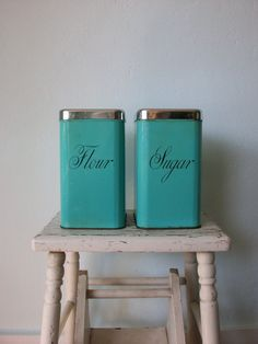 Vintage Kitchen Canisters  1950's Flour & sugar by sparvintheieletree, $20.00