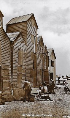 Just some net huts in 1933 Hastings Beach, Hastings Old Town, Old Pictures, Old Photos, Seaside Uk, Hastings Seafront, Rye Harbour, Time In England, Beach Wood