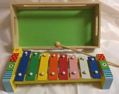 Xylophone Toy Musical Multi-Color Wood 3+ Educational w/Wood Box Mallet Excellen