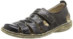 Josef Seibel Women's Ida Flat, black, 37 EU/6-6.5 M US. Casual sandal featuring open-work leather upper with adjustable hook-and-loop strap at vamp. Floral-patterned rubber outsole.