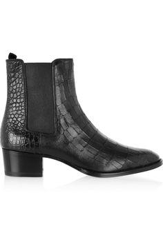 Saint Laurent|Wyatt croc-effect leather ankle boots|NET-A-PORTER.COM
