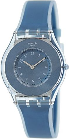 Swatch Womens SFS103 Skin Analog Display Swiss Quartz Blue Watch