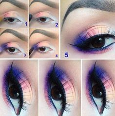 Step By Step Multi Colored Eye Makeup