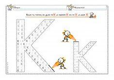 Γεμίζω το Κ,κ - Φύλλο εργασίας Learn To Read, Worksheets, Map, Writing, Education, Learning, School, Alphabet, Kids