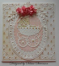 Baby Girl Card - I have an oval frame die and corner dies and this patterned rosebud paper.  This would be an easy card to put together.