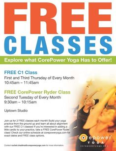 Free CorePower spin and ryder classes each month