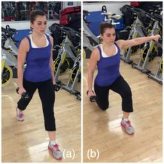 lunge with one arm lateral raise. Finding your fit place. http://findingyourfitplace.com/2014/02/03/workout-full-body-circuit/