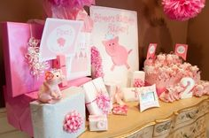 i Love this theme! pink princess piggie party i love how its not like the farm pig theme but more girlie :)  | followpics.co