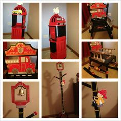 Such a cute idea for a little ones room, boy or girl. Fire hydrant bookcase, fire truck rocker & a fire rescue coat rack.