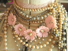 Vintage necklaces photography pink jewelry gold beads pearls