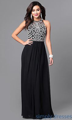 Long Formal Prom Dress with Beaded Bodice