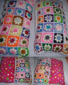 Almohadones en crochet. cuadritos de colores