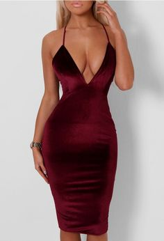 Pink Boutique Lauri Wine Velvet Plunge Front Midi Dress £22 >> http://www.pinkboutique.co.uk/lauri-wine-velvet-plunge-front-midi-dress.html #pinkboutique