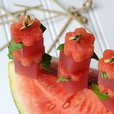 A Bite of Summer - Watermelon Basil Martini Jelly Shot