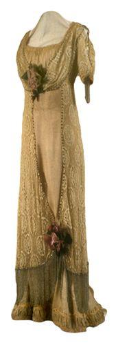Dress, dinner / evening (woman's) c. 1910 Plain weave; Pile; Net, machine; Beaded; Fabricated (cloth and wire); Lace, Leaver's machine; Satin weave; Fulled Silk velvet; Silk chiffon; Satin; Beads and beadwork; Rhinestones; Metal hooks and eyes TC 83.10-265