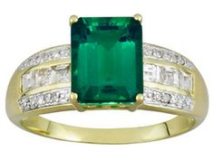 Emerald Essence And White Zircon 2.55ctw With Diamond Accent 10k Yg Ring Erv $563.00