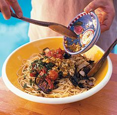 Spaghetti with Grilled Eggplant, Tomato & Onion    and wine suggestions.    At the bottom of the page are other eggplant suggestions. Yum!