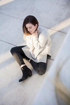 Frye boots, Parker Smith jeans, Anine Bing knit