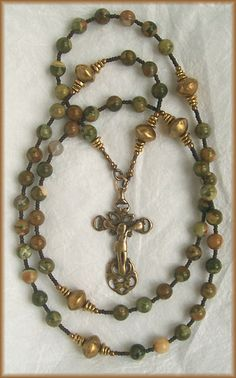 still stone and moss, prayer bead art: Outside the Walls Ryolite, Antique Brass and Bronze All in One Loop Handmade Rosary