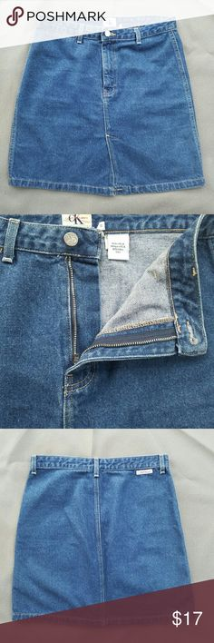 Calvin Klein Vintage Jean Skirt Waist- 16 in. Length-19 in   Feel free to ask me any additional questions! Happy Shopping! Make me an offer! Calvin Klein Skirts