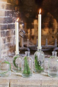 Sarah Gawler London - Flaschen-Kerzenhalter mit Blätter-Deko