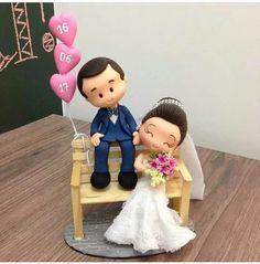 Themed Wedding Cakes, Wedding Favors, Wedding Decorations, Wedding Couples, Our Wedding, Fondant People, Bridal Chuda, Wedding Doll, Polymer Clay Animals