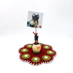 Mini Christmas Penny Rug with Resin Snowman Photo by maryimp, $28.00