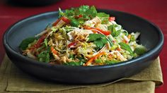 Vietnamese chicken, cabbage and noodle salad. Chinese cabbage is elongated in shape with a crisp, crinkly, pale-green leaf.