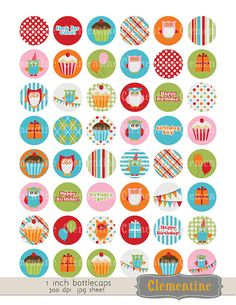 Birthday owls 1 inch circles bottle caps printable stickers digital collage sheet